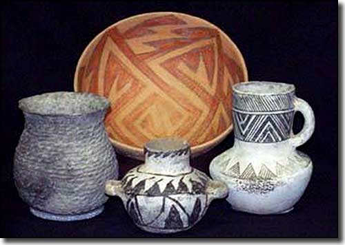 Examples of the Ancestral Puebloan pottery on display at Edge of the Cedars State Park Museum