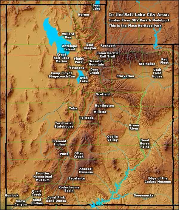 Utah State Parks - State of utah map