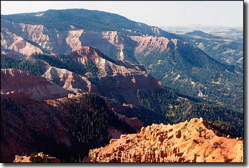 A view into Ashdown Gorge Wilderness from Cedar Breaks National Monument