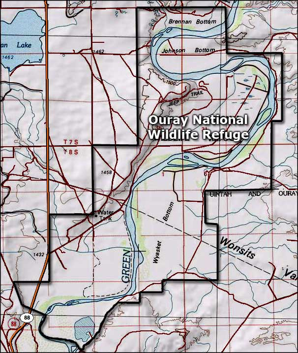 Ouray National Wildlife Refuge area map