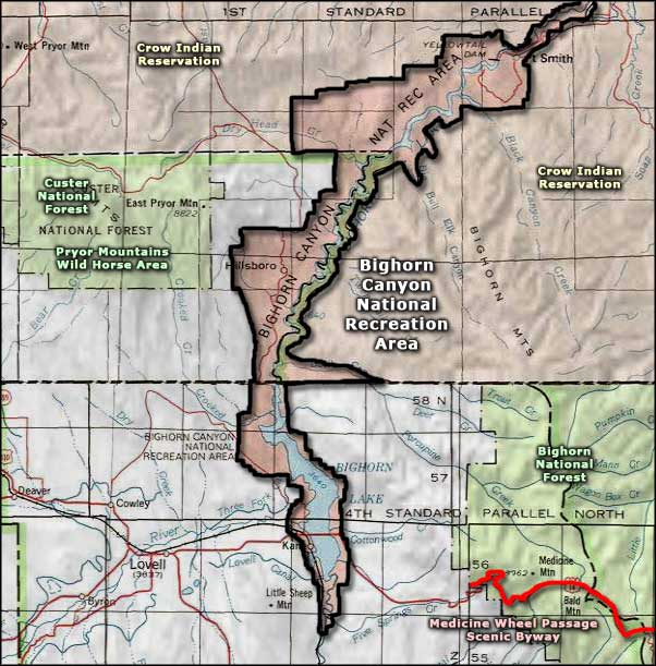 Bighorn Canyon National Recreation Area area map