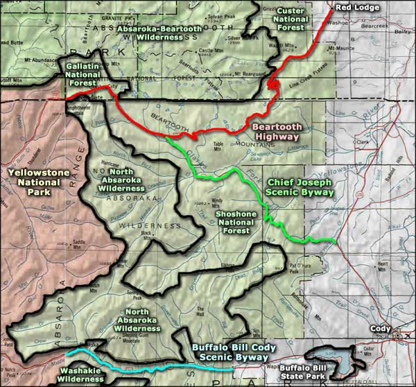 Buffalo Bill Cody Scenic Byway area map