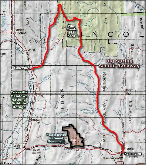 Cokeville Meadows National Wildlife Refuge area map