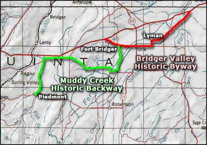 Bridger Valley Historic Byway area map