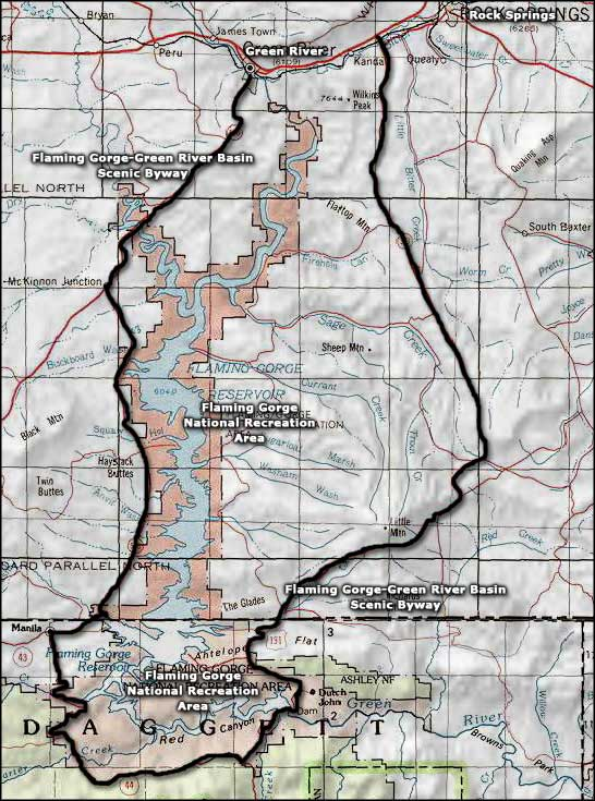 Flaming Gorge-Green River Basin Scenic Byway area map