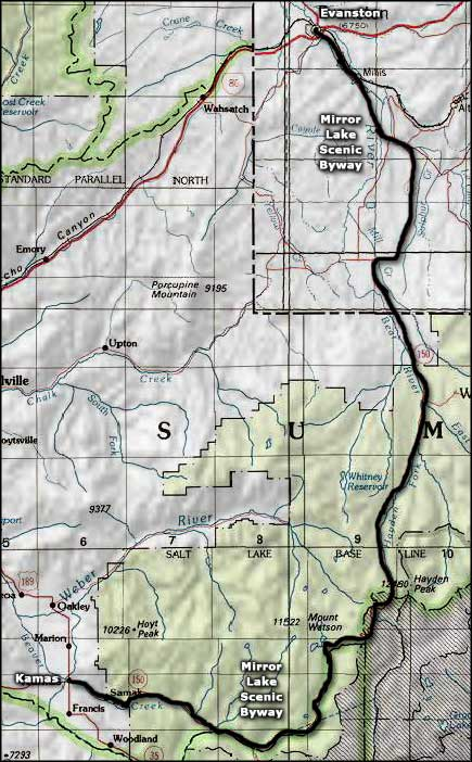 Mirror Lake Scenic Byway area map