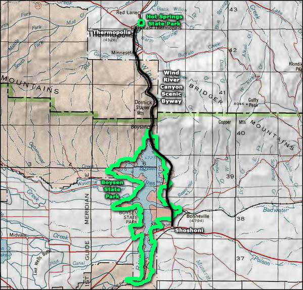 Wind River Canyon Scenic Byway area map