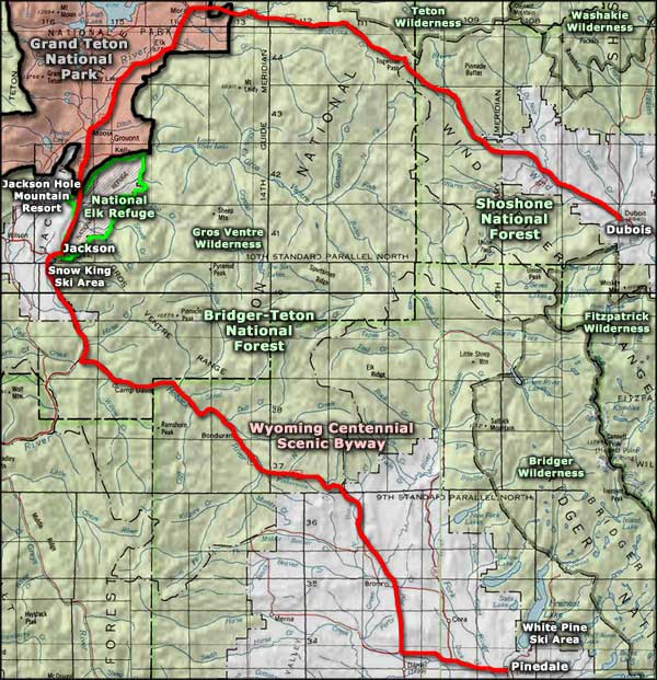 Gros Ventre Wilderness area map