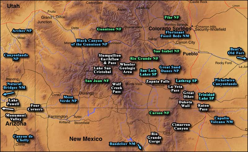 Unique Natural Features – Colorado Tourist Map