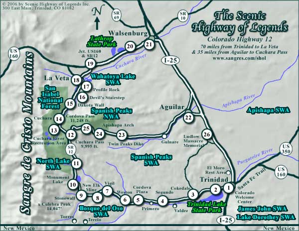Highway Of Legends Colorado Map.The Map Index Of Sangres Com